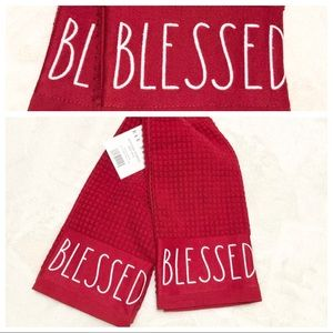 🆕Rae Dunn Set of 2 BLESSED Kitchen Towels